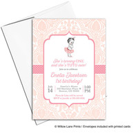 tutu birthday invitation | peach and pink | little girls invite | tutu invitation | first birthday invitation girl - WLP00319