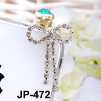 Large Bow Rhinestone JP-472 Dust Plug / Earphone Jack Accessory / Ear Cap / Ear Jack for Iphone / Ipad / Ipod Touch / All Device with 3.5mm Jack