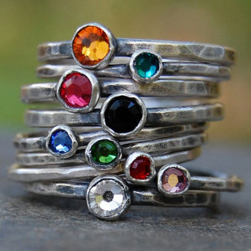 Eco Friendly Recycled Sterling Silver and Swarovski Crystal - Stacking Ring Set of 2 - Your Size