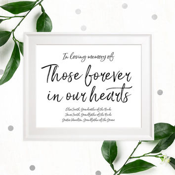 Stylish Hand Lettered Memorial Wedding Sign-In loving Memory of Those Forever in our Hearts Custom Sign-Printable Calligraphy Memorial Sign