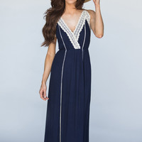 Brandy Navy Crochet Trim Maxi Dress