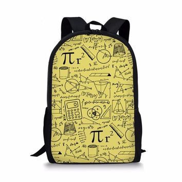 School Backpack forudesigns 2018 Newest Happy Satchels Math Pattern Fashion School Bags for Childrens Backpacks for Teen Girls Book Sac Mochila AT_48_3