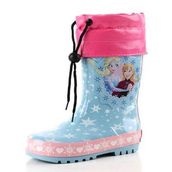 L&D Newest Kids Cartoon Rainboots Girls, Children Girl Winter Warm Thicken Rain Boots, Girls Antisip Wellies with Cotton Velvet