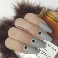 Set of Grey Stiletto Press on Nails False Nails 3D Hand Designed Glue on Nails