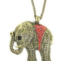 Elephant Necklace Red Crystal Animal NC24 Tribal Vintage Gold Tone Charm Pendant
