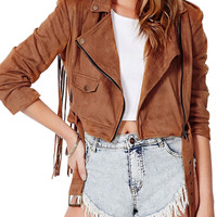 Brown Tasseled Back Suede Crop Jacket