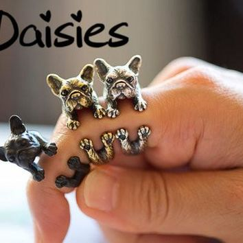 Daisies One Piece Vintage Boho Chic French Bulldog Finger Ring Anel Bijoux Brass Knuckle Animal Dog Ring For Women Men Jewelry