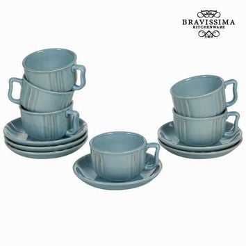 Blue cup and saucer set of 6 - Kitchen's Deco Collection by Bravissima Kitchen