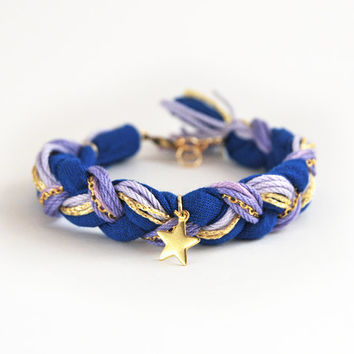 Lilac and blue braided bracelet with star charm