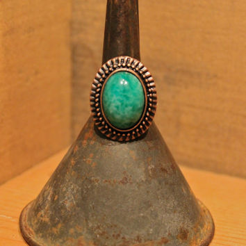 Jade Green Glass Cabochon Adjustable Ring by InHerDrawer on Etsy