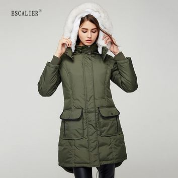 Winter Down Coats 3 Color Removable Fox and Rabbit Fur Collar Thick Outwear Jackets