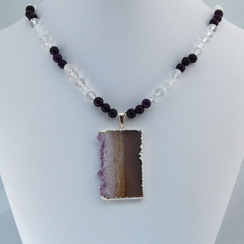 Druzy Amethyst Quartz Crystal Pendant Necklace