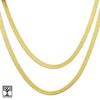 "Jewelry Kay style Men's Bling 14K Gold Plated 7 mm 20"" / 24"" Double Herringbone Chain Necklace"