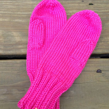 Watermelon Neon Hot Pink Child's Kids' Mittens - Hand-Knit for ages 5+