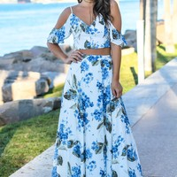 Ivory and Blue Floral Two Piece Set