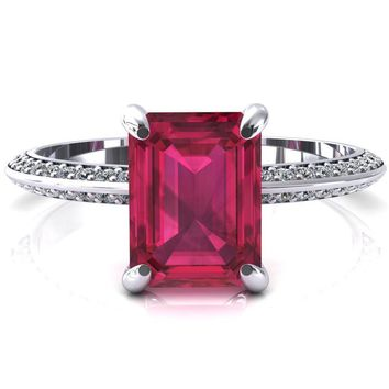 Nancy Emerald Ruby 4 Prong 1/2 Eternity Diamond Knife Shank Accent Engagement Ring
