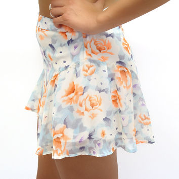 Blue and Orange Floral Shorts