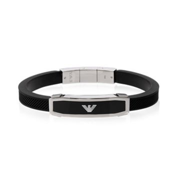 Emporio Armani Designer Men's Bracelets Stainless Steel and Black Rubber Men's Bracelet