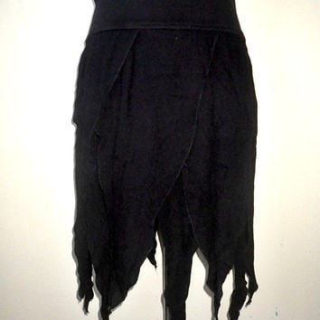 black tattered strips skirt