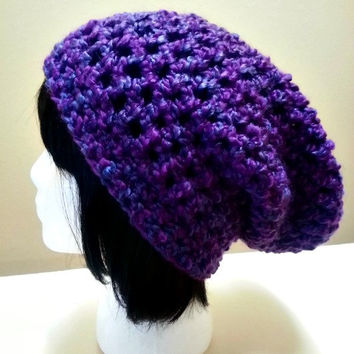 Chunky Crochet Slouchy Long Beanie - Purple Womens Slouchy Hat - Baggy Beanie - Oversized Beanie - Hipster Hat - Winter Hat