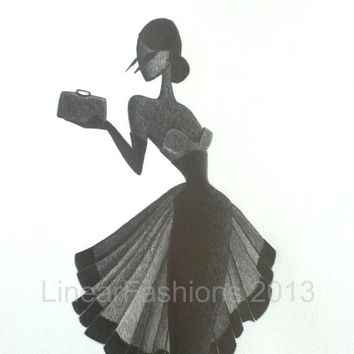 Original Fashion Illustration / 1950s fashion dress /  50s dress sketch / pencil art / fit and flare dress / wall decor / art gift