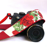 Flowers Camera Strap. dSLR Camera Strap. Roses Camera Strap. Women Accessories.