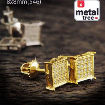 Jewelry Kay style Fashion Hip Hop Iced Out M L XL Large Square Flat Block Screw Back Stud Earrings