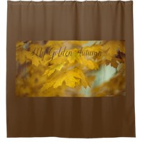 Yellow autumn maple leaves. Add you text or name. Shower Curtain