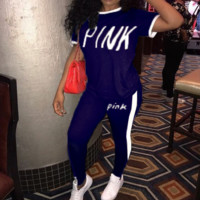 PINK Print Fashion Casual Sports Two-piece pants