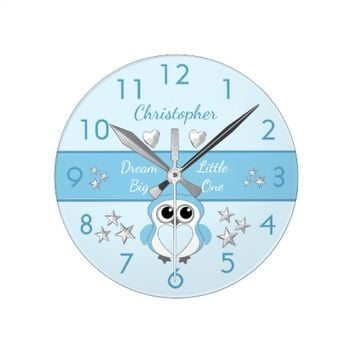 Owl blue Clock nursery decor