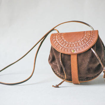 Tan Brown Leather Bag Vintage. Tooled Leather Suede Purse for women. Women's Shoulder Bag Tiny. Boho bag for girl. Leather bag small gift