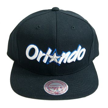 outlet store b6d94 d278b NBA Mitchell   Ness Orlando Magic Black Wordmark Snapback Cap
