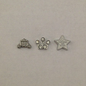 Floating charms for living memory lockets - princess carriage, princess crown, a dream is a wish star