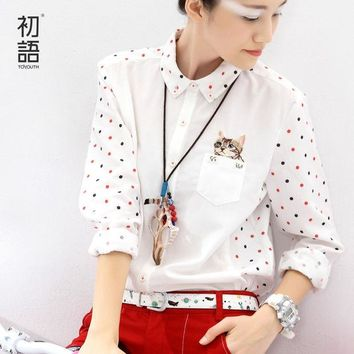 DCCKHY9 Toyouth New Arrival Winter Shirt Turn-Down Collar Ladies Blouses Long-Sleeve Shirt Female Polka Dot With Cat Embroidery