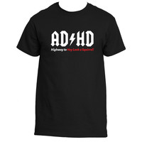 """AD/HD Highway to Hey Look a Squirrel"" Funny AC/DC Pun T-Shirt"