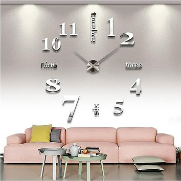 hot sale home decoration 3d mirror clocks fashion personality diy Circular living room big wall clock watch free