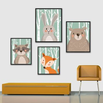 Modern Minimalist Nordic Animal Cartoon Painting Nursery Wall Art Painting For Livingroom Baby Kids Room Decorations No Frame