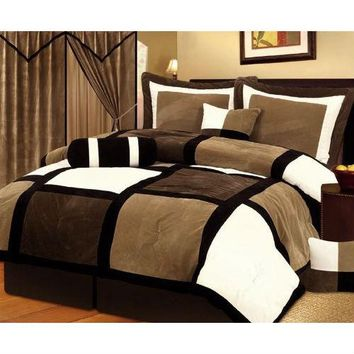 Queen Size 7-Piece Patchwork Comforter set in Brown White Black