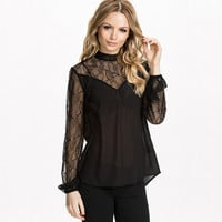 Black Mesh And Lace Embroidered Long Sleeve Blouse