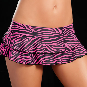 Double Layered Pink Zebra Animal Print Ruffle Skirt
