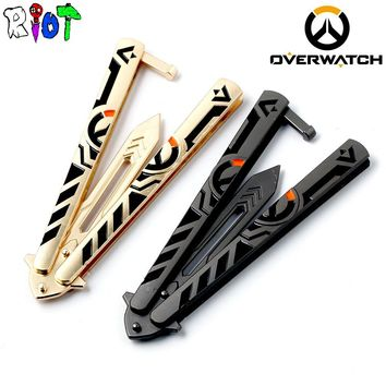 21cm Overwatch Weapon Model Sword handwork alloy Pendant Swing knife Training Tools No edge Butterfly Knives Folded flail knife