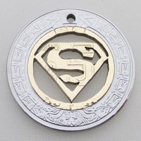Superman necklace symbol, handmade jewelry