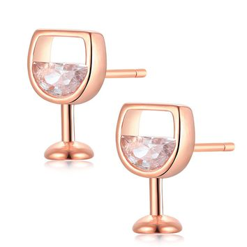 Crystal & 18k Rose Gold-Plated Wine Glass Stud Earrings