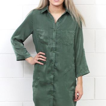 Soft as Silk Shirt Dress {Olive} - Size MEDIUM