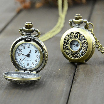 Vintage Style Bronze Clock Necklace With Free Shipping
