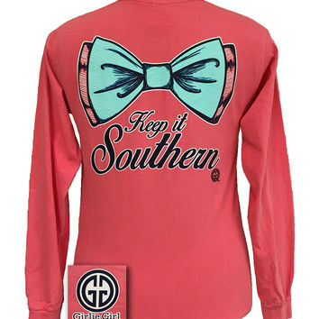 Girlie Girl Originals Keep It Southern Big Bow Comfort Colors Long Sleeve T Shirt