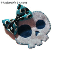 Skull Hair Clip - White, Blue, Leopard - Rockabilly, Punk, Womens - Skull With Bow, Girly Skull, Scene, Emo, Cute and Creepy, Kitsch, Teen