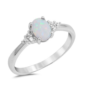 Sterling Silver CZ Lab White Opal and Simulated Diamond Oval Center Ring 7MM