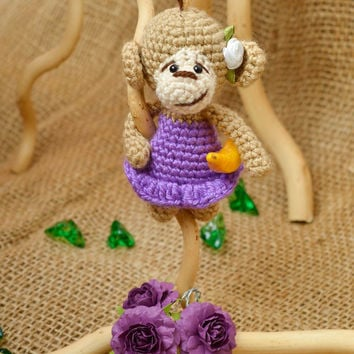 Monkey toy handmade crocheted toy for children stuffed toys hand-crocheted toys