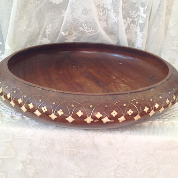 Bone Inlay Rosewood Bowl, Mid Eastern Centerpiece, Fruit Bowl, Ornate Design Boho Kitchen, Dining Display, India, Pakistan Decor